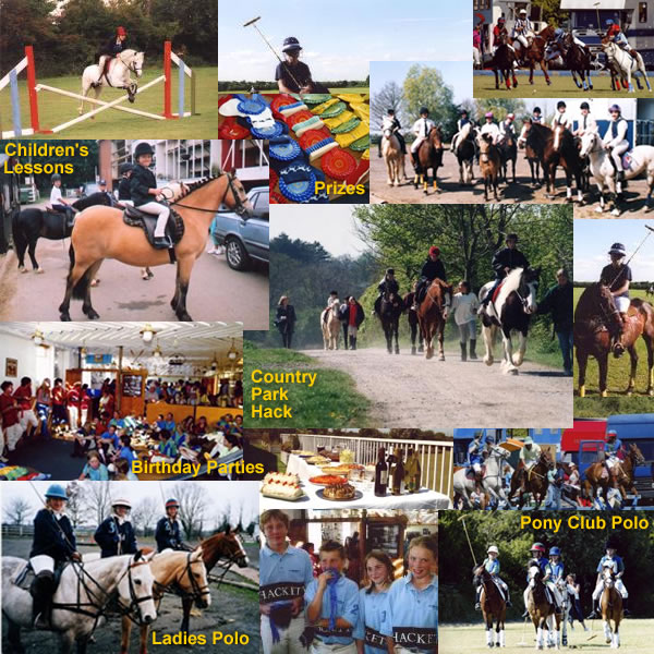 Collage of pictures showing: Country Park Hack; Children's Riding Lessons, Prizes for Gymkhana and monthly shows, birthday parties, pony club polo and ladies polo